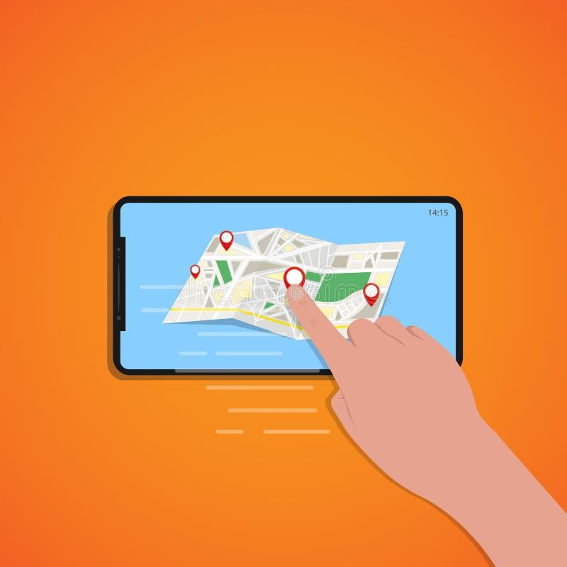 Tacto del finger de la pantalla del smartphone con el mapa de ubicación, fondo anaranjado, vector stock de ilustración