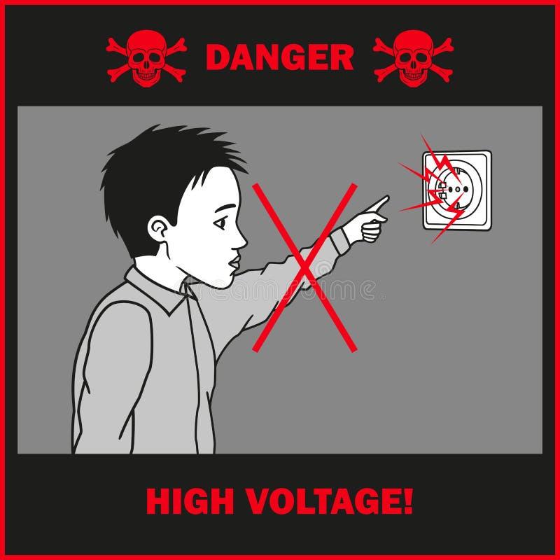Tactos del muchacho a un mercado eléctrico libre illustration