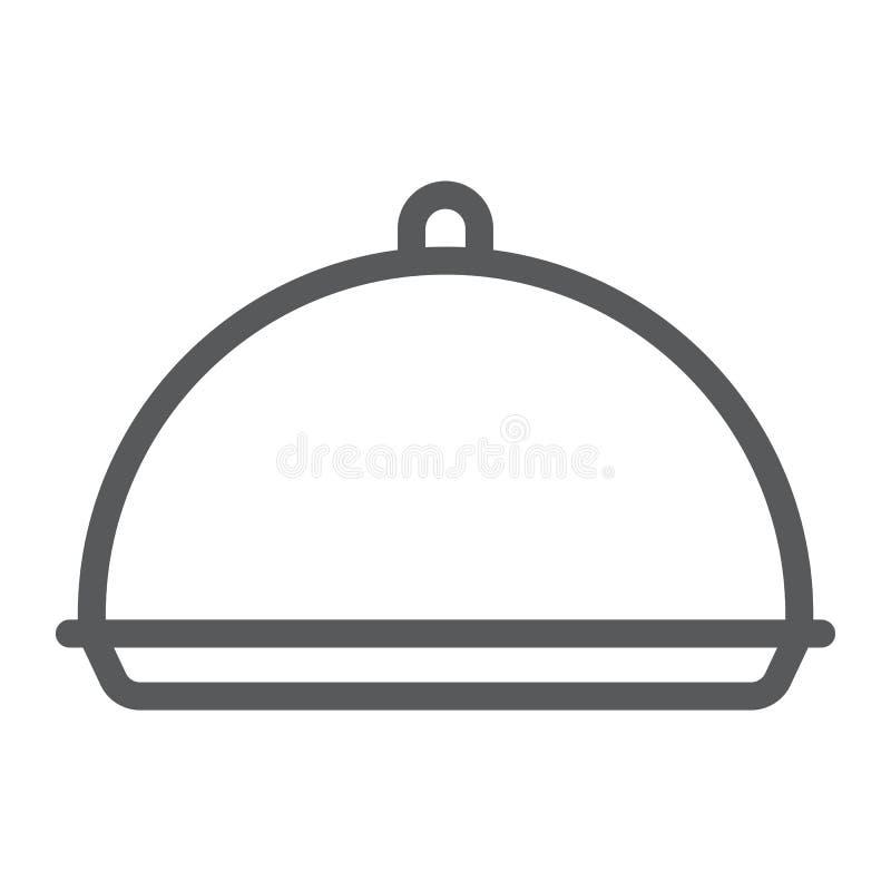 Tacy kreskowa ikona, pokrywa i naczynie, półmiska znak, wektorowe grafika, liniowy wzór na białym tle ilustracji