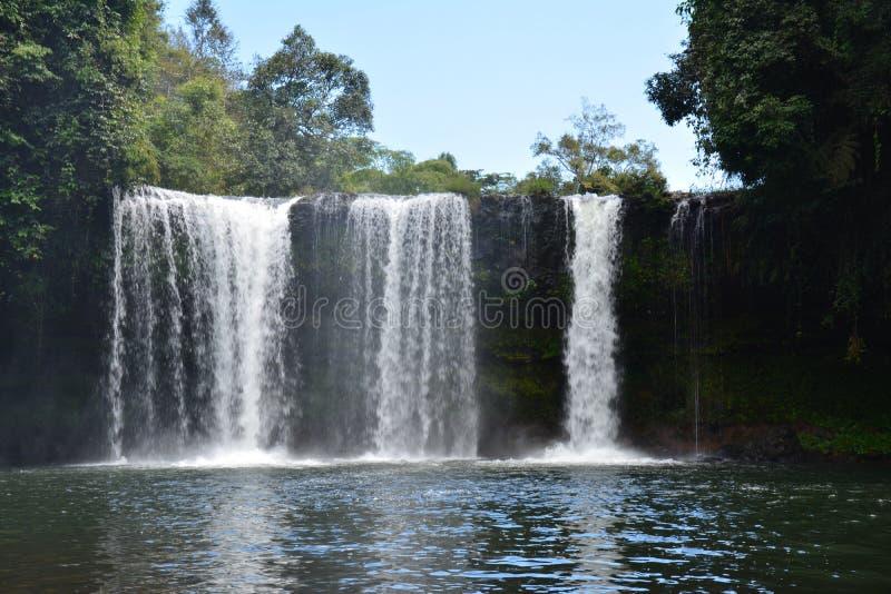 Tad Etu Waterfalls in Bolovens Plateau in Laos. The impressive falls of Tad Etu, a double waterfall near Pakse in the Bolovens Plateau in the southern part of stock photos