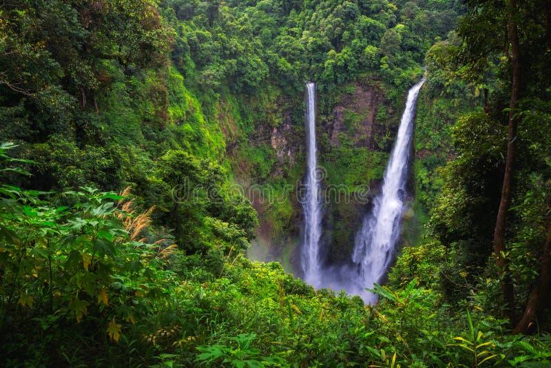 Tad Fan waterfall. Landscape of Tad Fan waterfall in Champasak, Pakse, Laos stock images