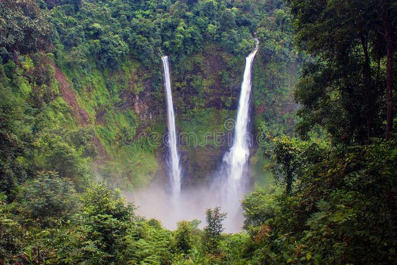 Tad Fan Waterfall. In southern Laos royalty free stock photo