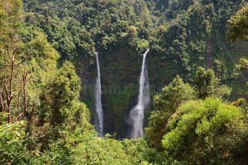 Tad Fane Waterfalls in Bolovens Plateau in Laos. The impressive falls od Tad Fane, a double waterfall near Pakse in the Bolovens Plateau in the southern part of royalty free stock images