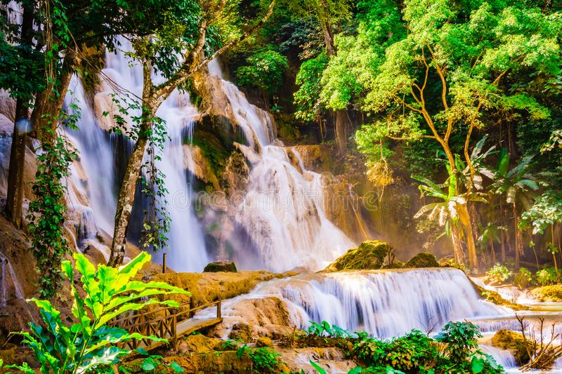 Tad Kuang Si waterfall most famous and beautiful waterfall in Luang Prabang province, Laos.  royalty free stock photography