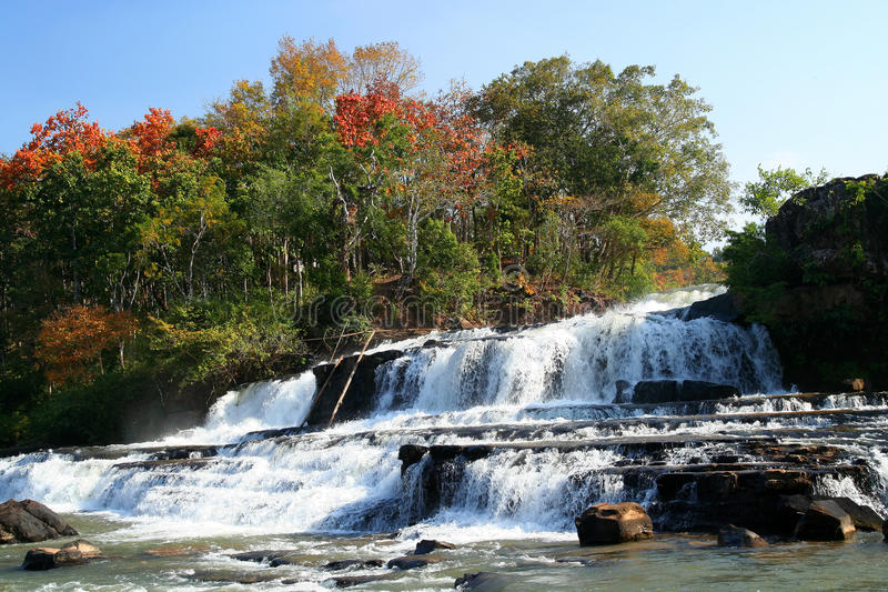 Tad Lo waterfall. Beautiful Tad Lo waterfall on the Bolaven Plateau in Laos stock images