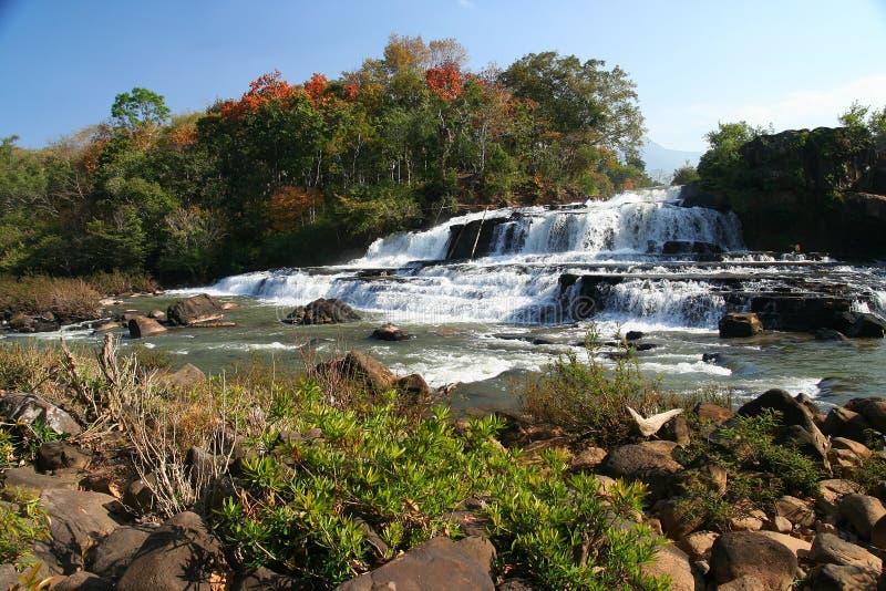 Tad Lo waterfall. Beautiful Tad Lo waterfall on the Bolaven Plateau in Laos royalty free stock photo