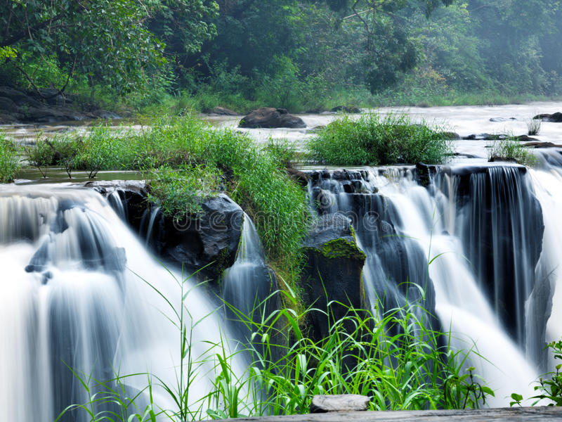 Tad-Pa Suam waterfall. In Champasak province, Southern Laos royalty free stock photography