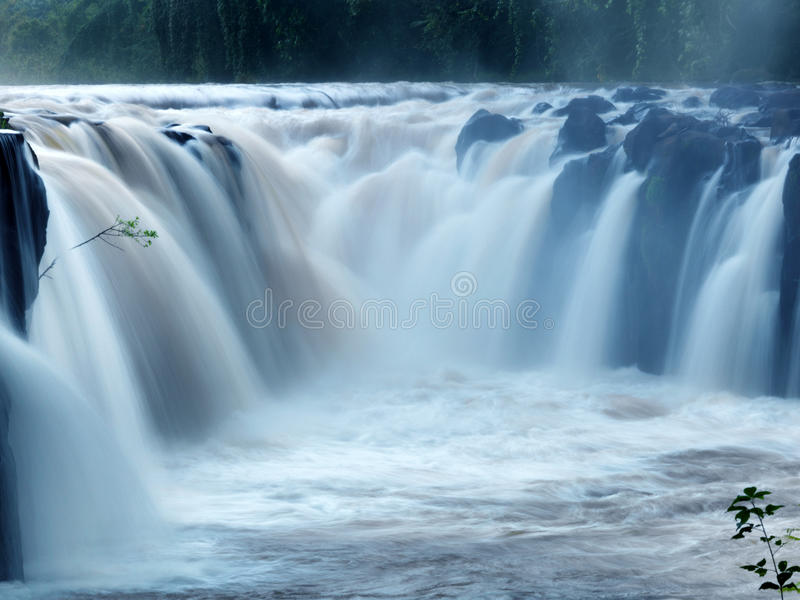Tad-Pa Suam waterfall. In Champasak province, Southern Laos royalty free stock images