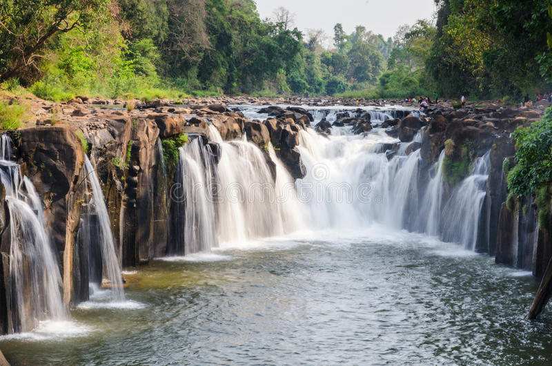 Tad Pha Souam waterfall. Tad Pha Souam the waterfall in Laos stock photo