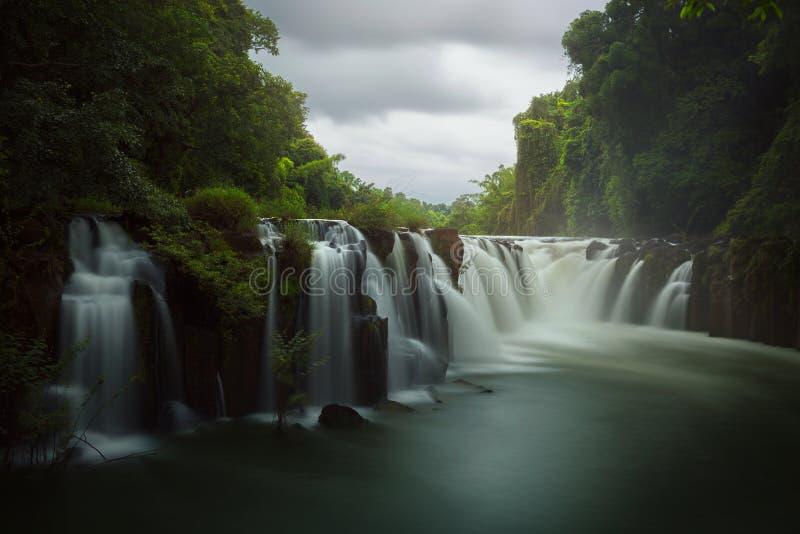 Tad Pha Souam waterfall. In Pakse, Champasak, Southern Laos stock photos
