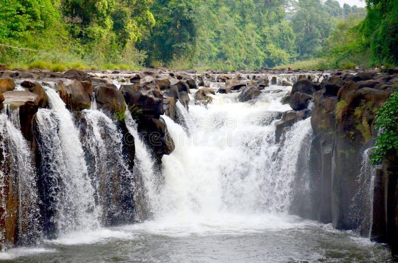Tad Pha Suam waterfall in Pakse, Champasak, Laos. Motion of water at Tad Pha Suam waterfall in Pakse, Champasak, Laos stock image