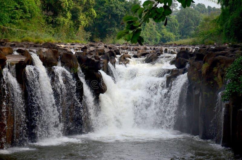 Tad Pha Suam waterfall in Pakse, Champasak, Laos. Motion of water at Tad Pha Suam waterfall in Pakse, Champasak, Laos stock photo