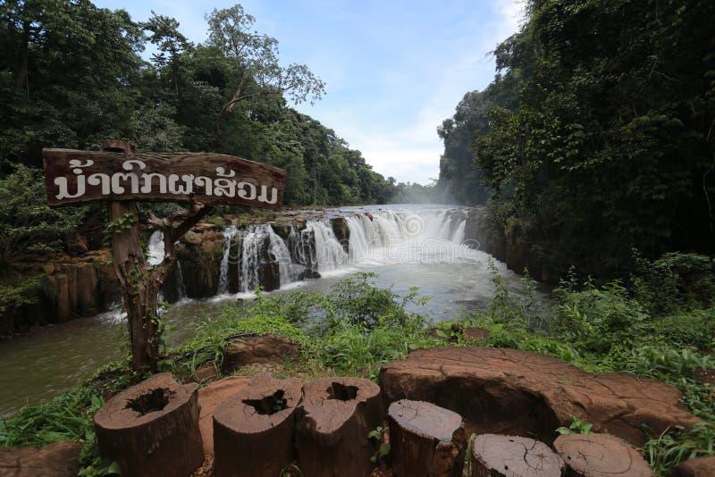 Tad Phasom Waterfall. At LAOS stock photography