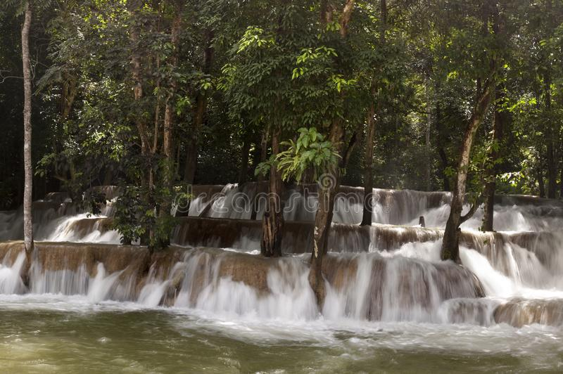 Tad Sae Waterfall. Mekong river, Laos royalty free stock photography