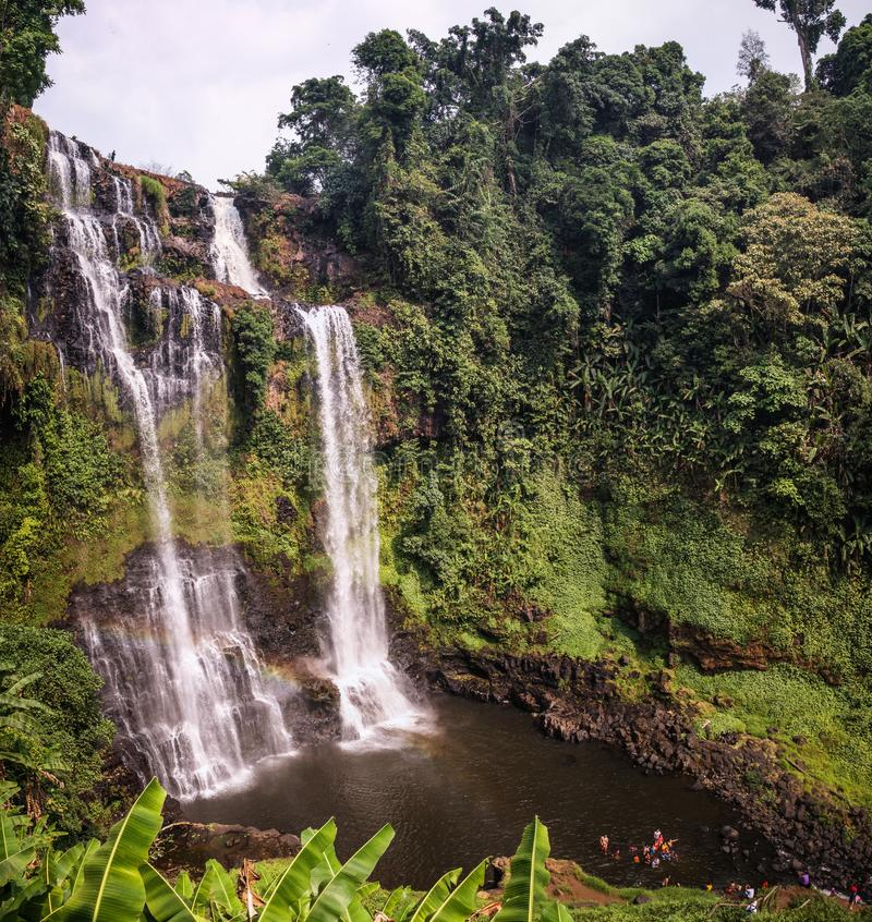 Tad Yuang Waterfall, Bolaven Plateau, Champasak Province, Laos. Tad Yuang also spelled Tad Gneuang is a spectacular waterfall that makes an indelible impression royalty free stock image