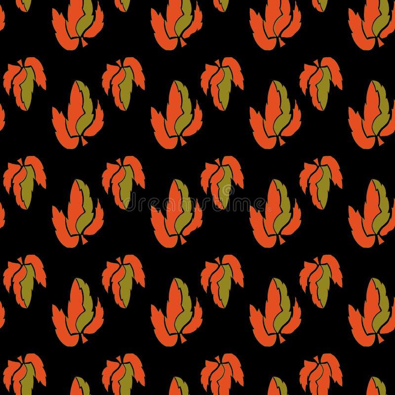 Tadellose Blätter in der Orange, mit einem flachen schwarzen Hintergrund, Weinlesebild, nahtloses Muster vektor abbildung