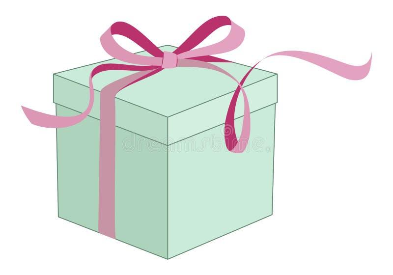 Tadellose Farbe der Geschenkbox mit rosa Band und Bogen lizenzfreie abbildung