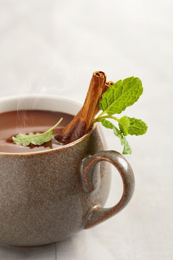 Tadellose heiße Schokolade im Becher mit Zimtsteuerknüppeln lizenzfreies stockbild