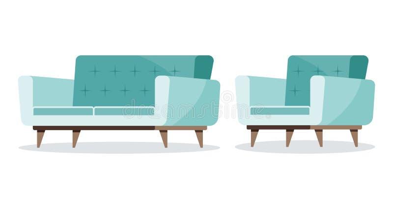 Tadelloser Farbsatz des weichen Sofas und des Lehnsessels mit hölzernen Sofabeinikonen stock abbildung