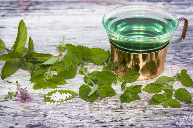 Tadelloser Tee, Kügelchen, medizinische Kräuter lizenzfreie stockfotos