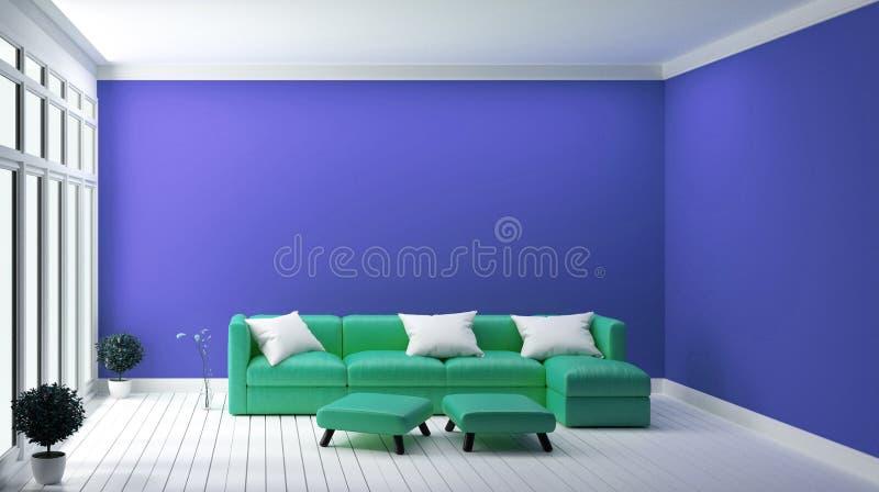Tadelloses Sofa des Konzeptes des Entwurfes auf modernem Innenraum der blauen Wand Wiedergabe 3d stock abbildung