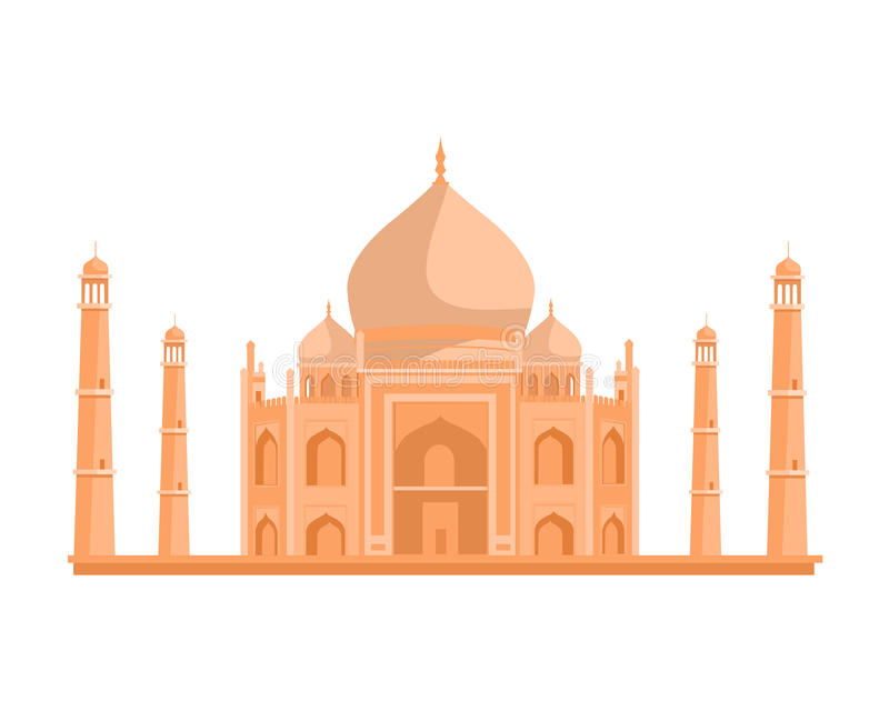 Tadj Mahal Illustration in Flat Design. royalty free illustration