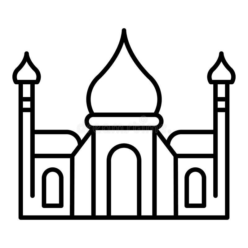 Tadj mahal pictogram, overzichtsstijl stock illustratie