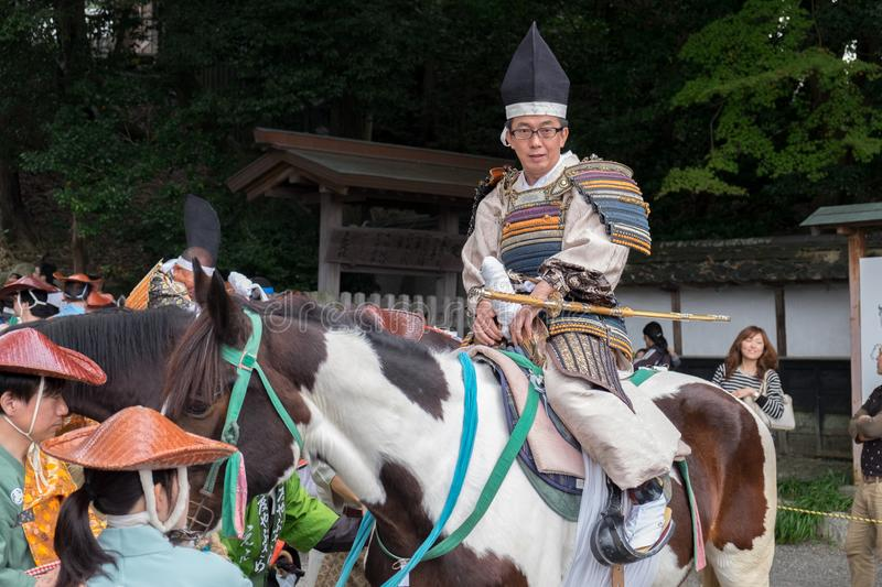 Participants of Festival Yabusame - a type of mounted or horseback archery in traditional Japanese style stock images