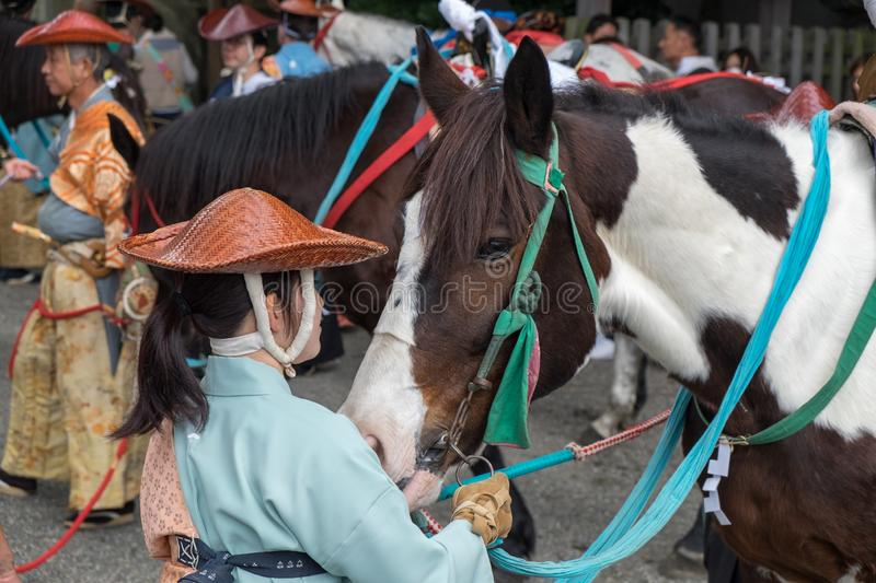 Participants of Festival Yabusame - a type of mounted or horseback archery in traditional Japanese style stock photo