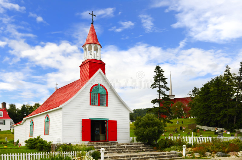 Tadoussac village church royalty free stock photos