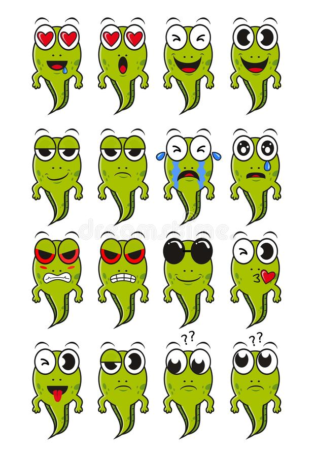 Tadpoles emoticon face stock image