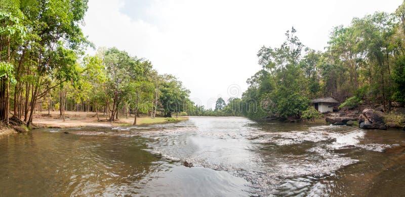 TADTON瀑布全景视图在猜也奔府的在泰国,没有的国立公园 23泰国 图库摄影