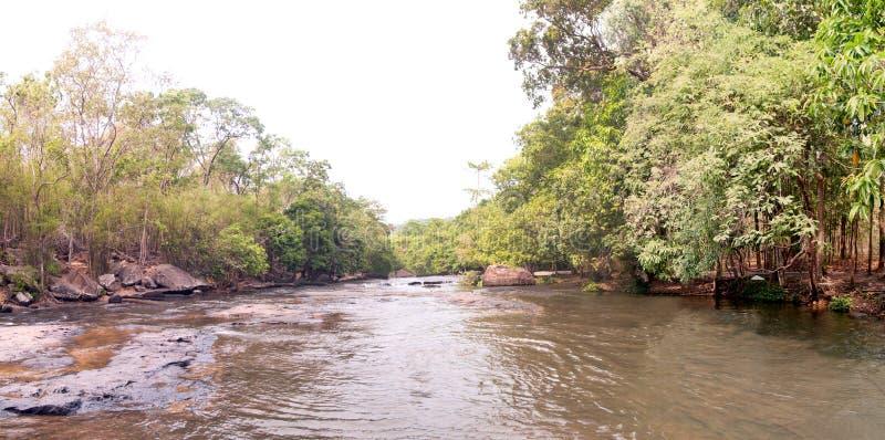 TADTON瀑布全景视图在猜也奔府的在泰国,没有的国立公园 23泰国 免版税库存照片