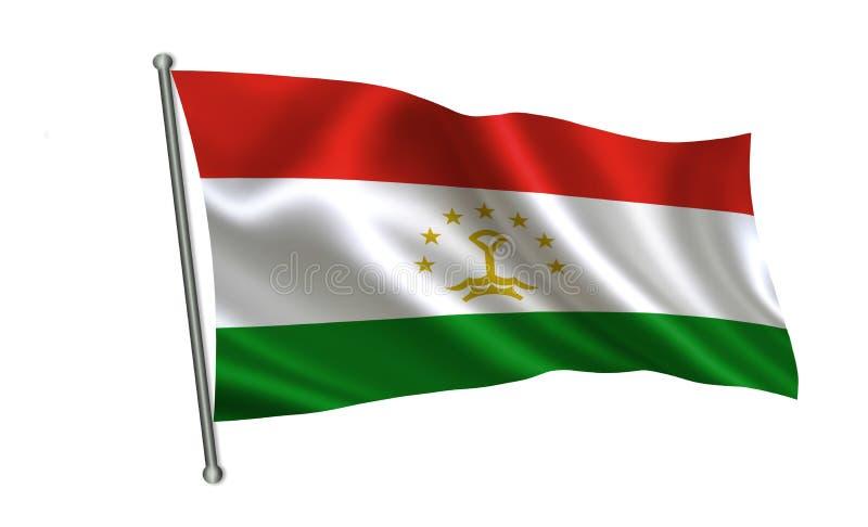 Tadzjikistan flagga En serie av `-flaggor av världen ` Landet - Tadzjikistan flagga stock illustrationer