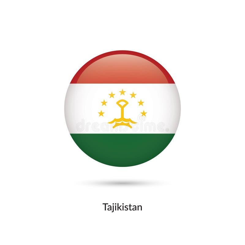 Tadzjikistan flagga - rund glansig knapp royaltyfri illustrationer
