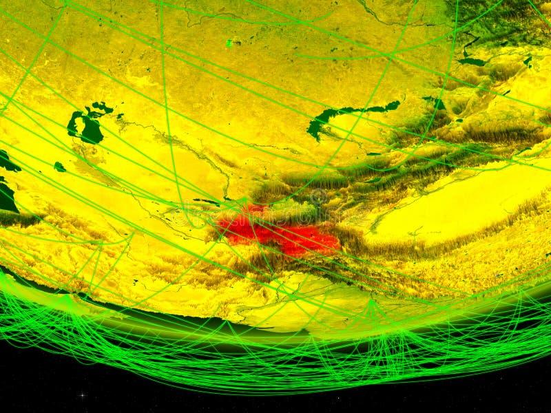 Tadzjikistan op groen model van aarde met netwerk die digitaal tijdperk, reis en mededeling vertegenwoordigen 3D Illustratie stock foto