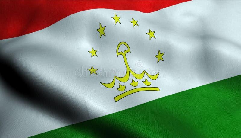 Tadzjikistan vinkande flagga i 3D stock illustrationer