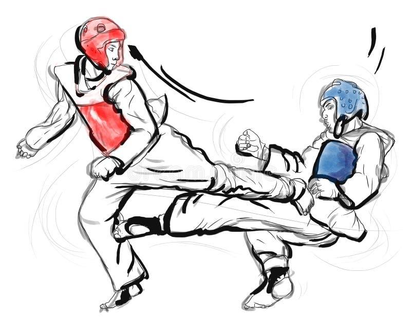 Tae-Kwon Ένα σύνολο - μεγέθους συρμένη χέρι απεικόνιση απεικόνιση αποθεμάτων