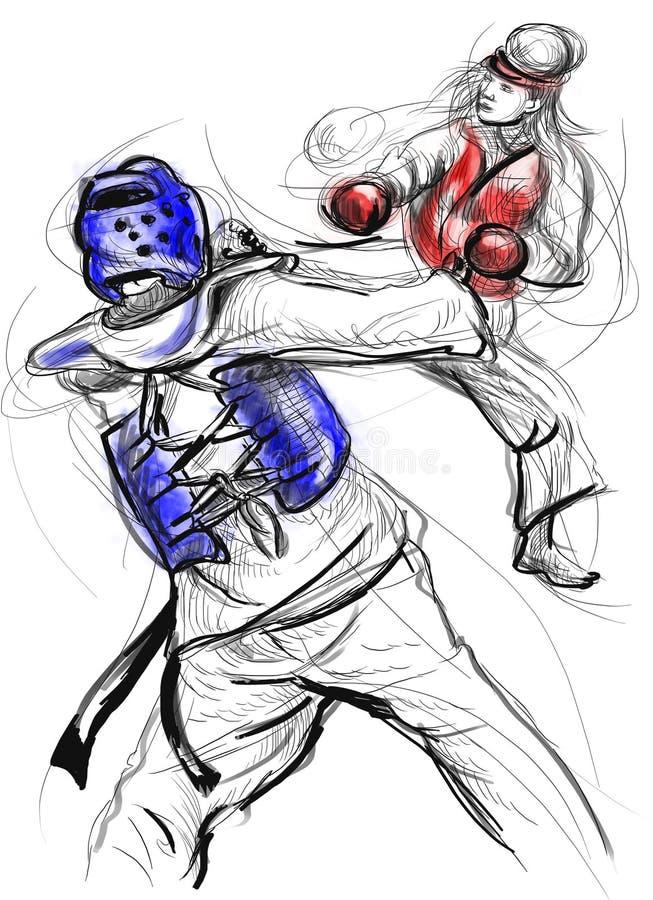 Tae-Kwon Ένα σύνολο - μεγέθους συρμένη χέρι απεικόνιση διανυσματική απεικόνιση