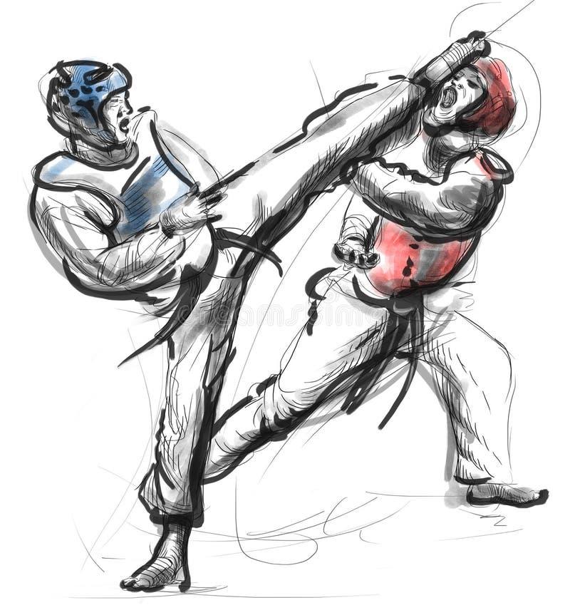 Tae-Kwon Do Mão sem redução uma ilustração tirada ilustração do vetor