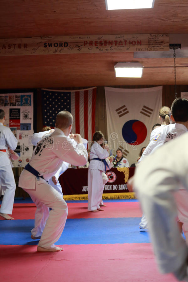 Tae Kwon Do students test for belts stock photography