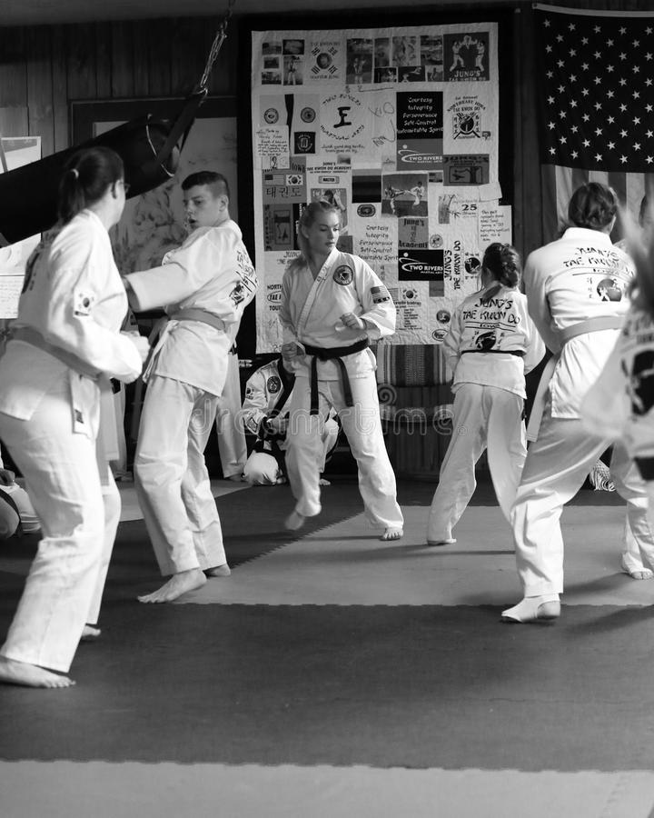 Tae Kwon Do students test for belts royalty free stock photos
