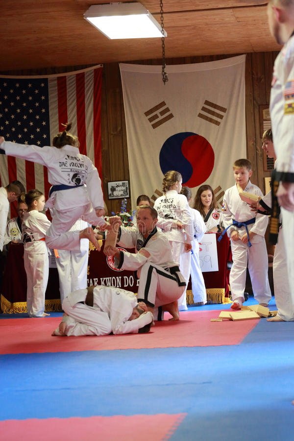 Tae Kwon Do students test for belts royalty free stock photo
