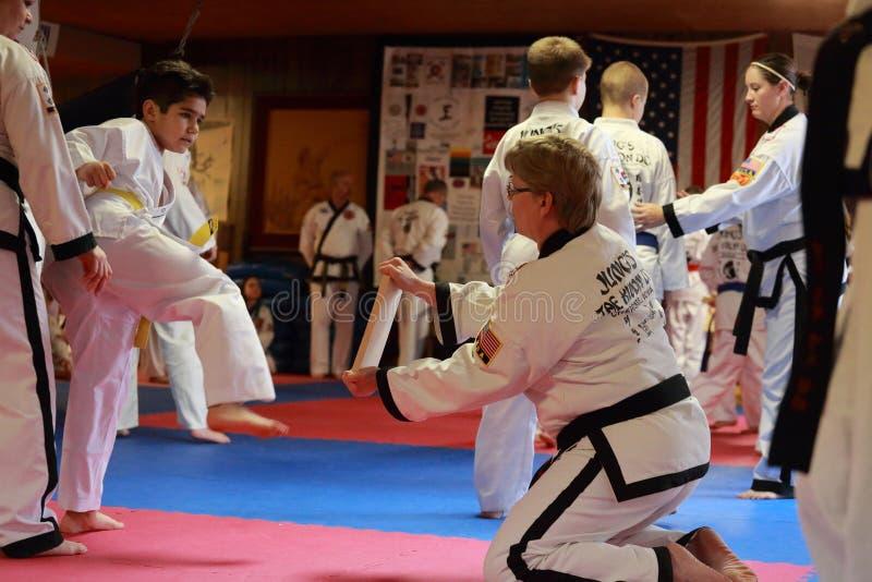 Tae Kwon Do-Test in Cedar Rapids, Iowa stockfotos