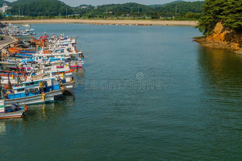 Fleet of fishing ships royalty free stock images