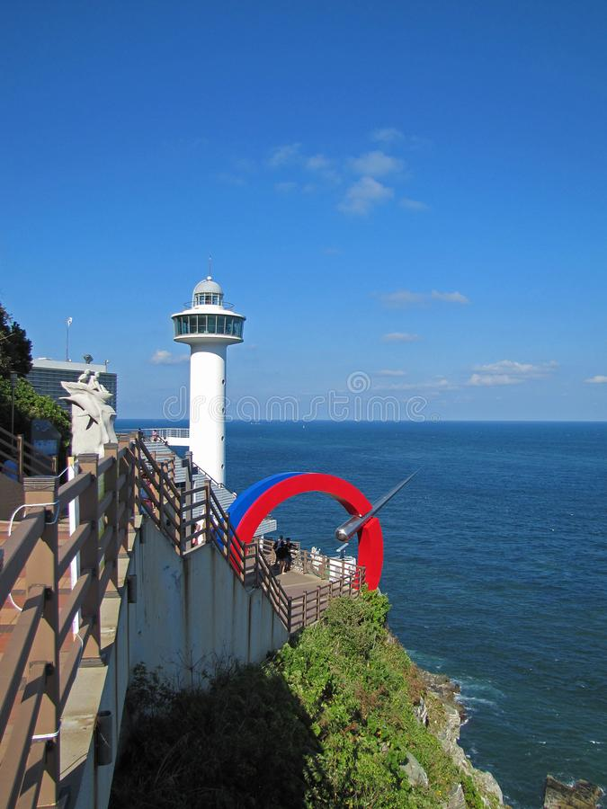 Taejongdae latarnia morska na brzeg morze zdjęcie royalty free