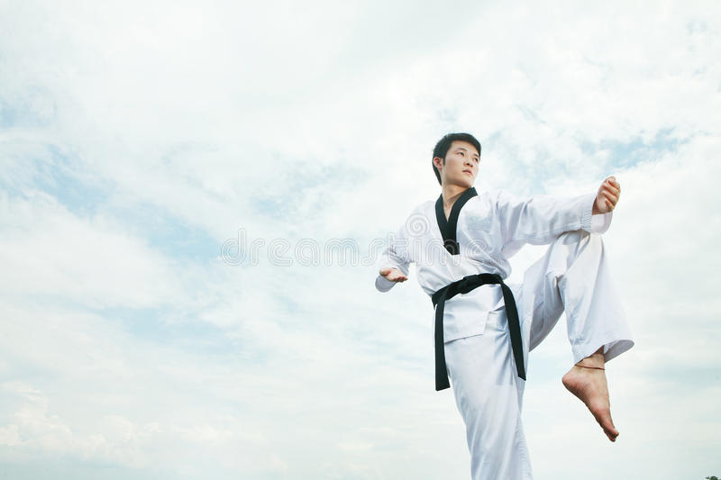 Taekwondo. Asian man playing with taekwondo royalty free stock image
