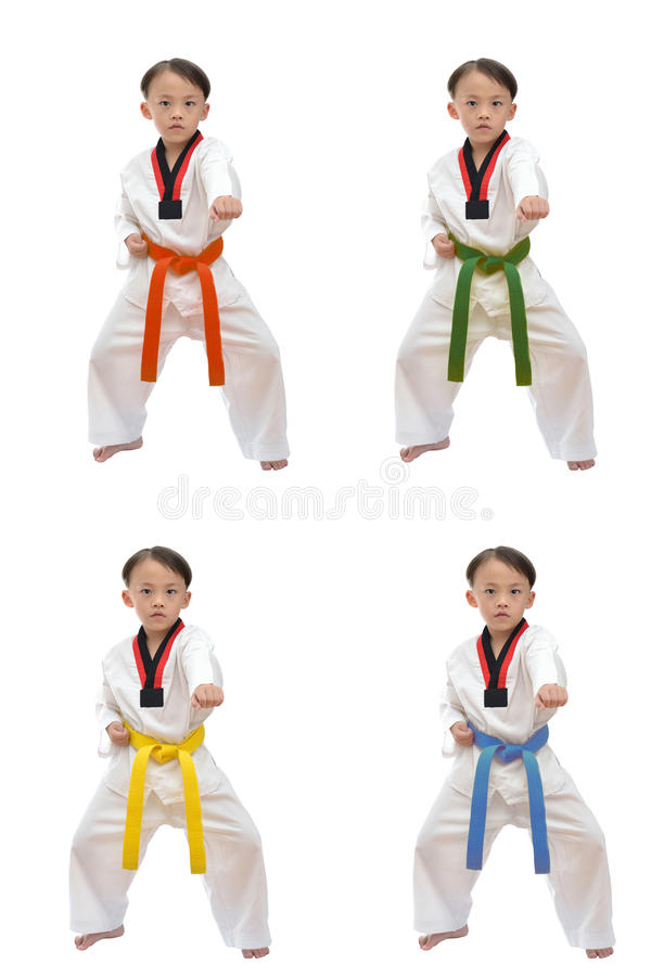 Taekwondo boy. Uniform in action isolated on white background stock photos