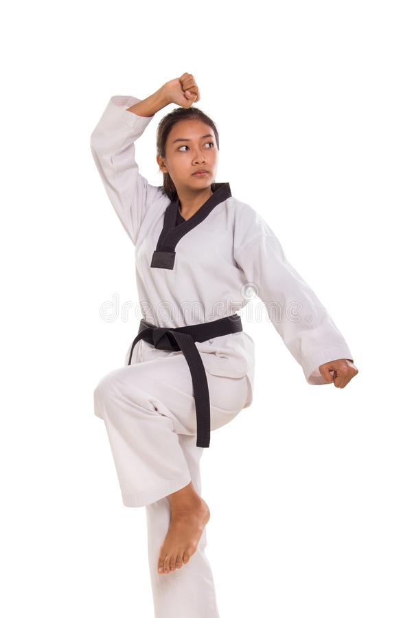 Taekwondo dziewczyny pozycji poza obrazy royalty free
