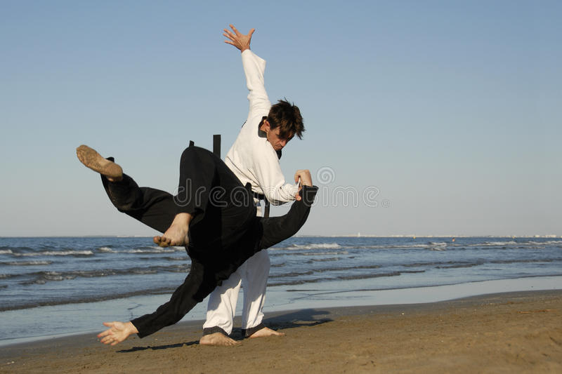 Taekwondo et apkido. Fighting of two men in taekwondo and apkido sports on the beach stock photo